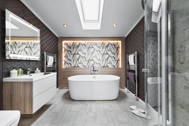 A holiday lodge bathroom decorated in a modern style. Another benefit of holiday lodge ownership at Akebar Park!